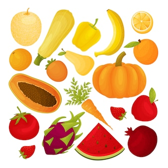 Set di frutta e verdura giallo, arancio, rosso.