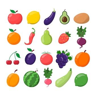 Set di frutta e verdura. limone, arancia, banana