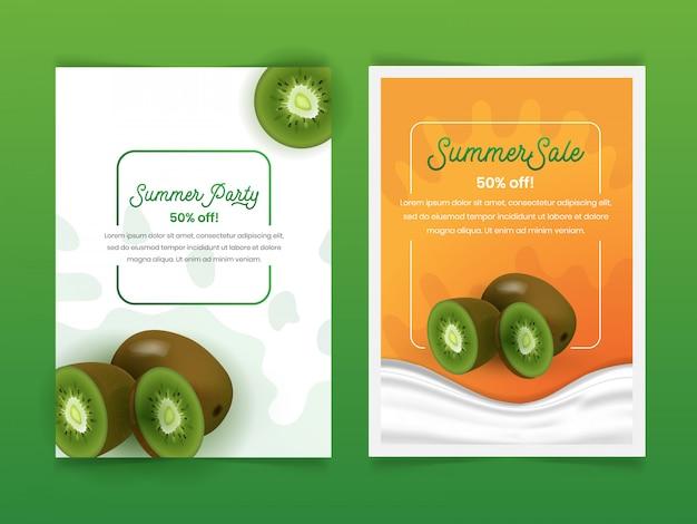 Set di frutta kiwi estate flyer design template con 3d stile realistico