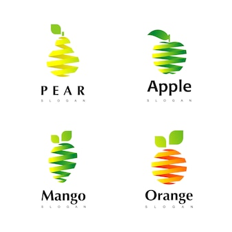 Set di frutta logo design inspiration