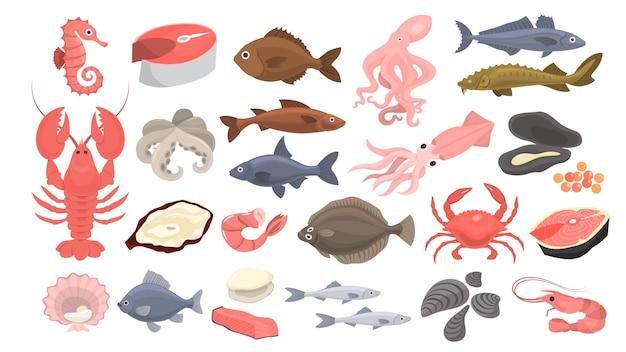 Set di frutti di mare. trancio di salmone e gamberetti, crostacei.