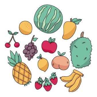 Set di frutti doodle