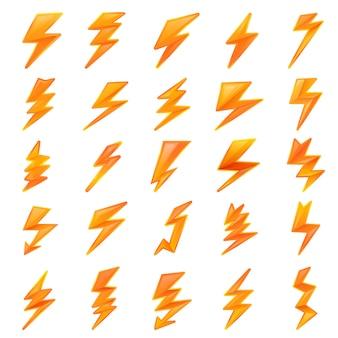 Set di fulmine, in stile cartone animato