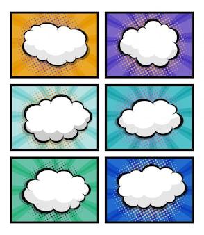 Set di fumetti, pop art con nuvoletta vuota