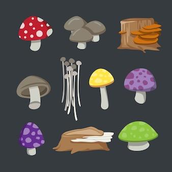 Set di funghi di cartone animato