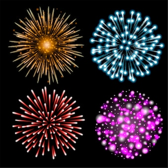 Set di fuochi d'artificio colorati. set di festosa saluto modellato che esplode in varie forme su sfondo nero. cartolina di natale decorazione luminosa, festa di capodanno, festival. illustrazione.