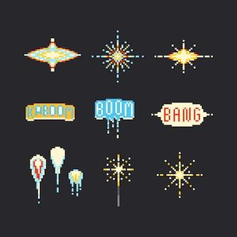 Set di fuochi d'artificio di arte pixel. 8bit.