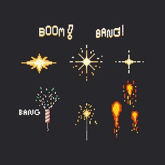 Set di fuochi d'artificio di pixel