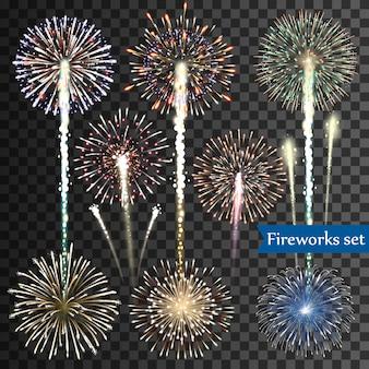 Set di fuochi d'artificio isolati su sfondo trasparente