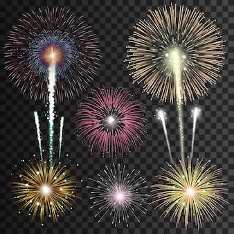 Set di fuochi d'artificio realistici isolati su sfondo trasparente