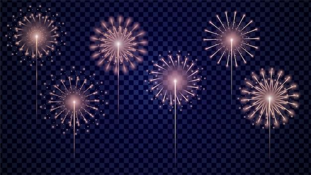 Set di fuochi d'artificio vettoriale realistico