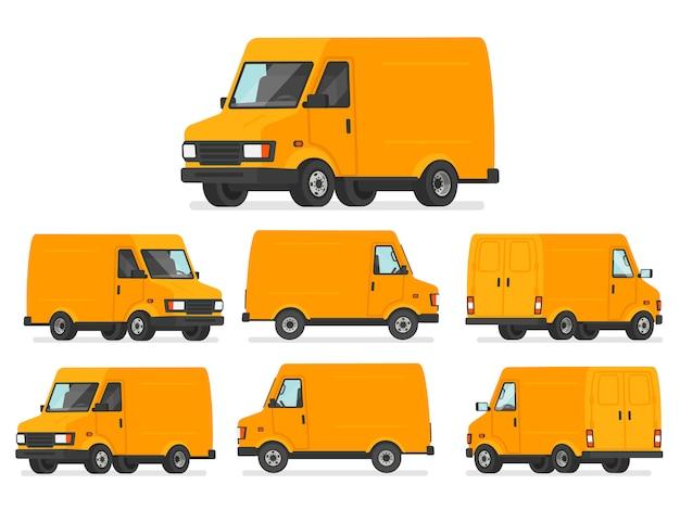 Set di furgoni gialli. camion per il trasporto di merci. veicolo per la consegna, mostrato da diversi lati