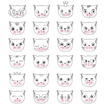 Set di gatti faccia moda carino