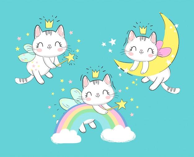 Set di gatti magici svegli disegnati a mano con ali e bacchetta. il gattino del personaggio da favola dorme sulla luna e sull'arcobaleno.