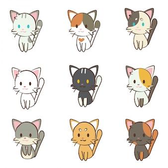 Set di gatto personaggio dei cartoni animati