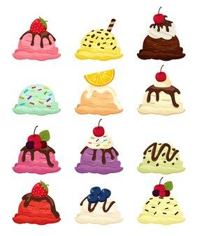Set di gelati con diversi gusti e frutti