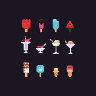Set di gelati pixel.