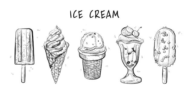 Set di gelati. stile schizzo.
