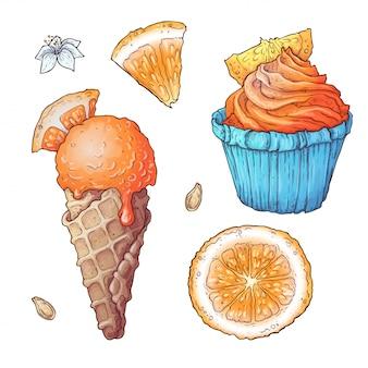 Set di gelato agli agrumi e cupcake