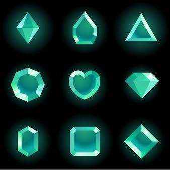 Set di gemme di diverse forme.