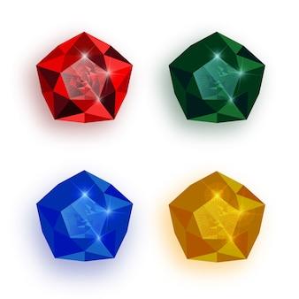 Set di gemme multicolori.