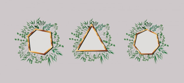 Set di geometriche cornici e foglie dorate