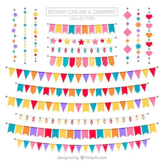 Set di ghirlande di compleanno con grandi disegni