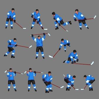 Set di giocatore di hockey colorato