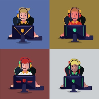 Set di giocatore professionista che gioca video gioco sul computer