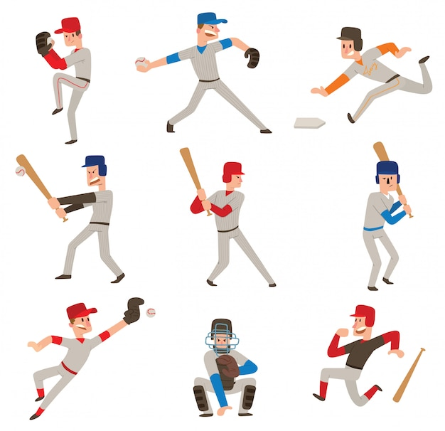 Set di giocatori di baseball.