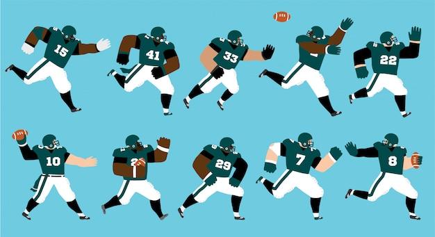 Set di giocatori di football americano