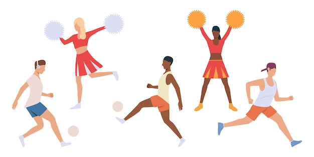 Set di giocatori e cheerleaders