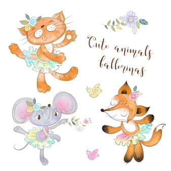 Set di giocattoli del personaggio. il topo il gatto e la volpe in tutù. ballerine animali