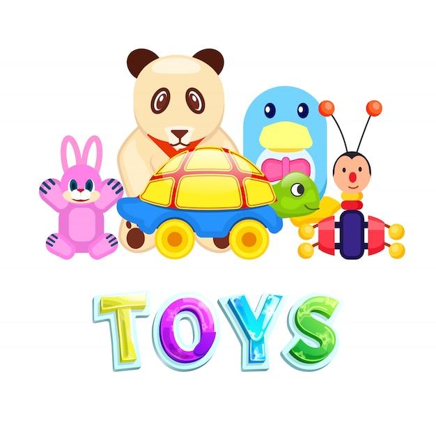 Set di giocattoli per bambini isolati