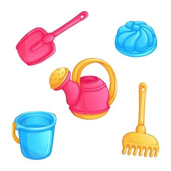 Set di giocattoli per bambini per giocare con la sabbia.