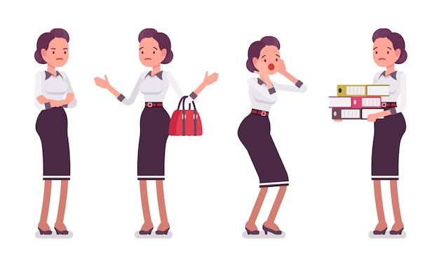 Set di giovane attraente segretaria che mostra emozioni negative