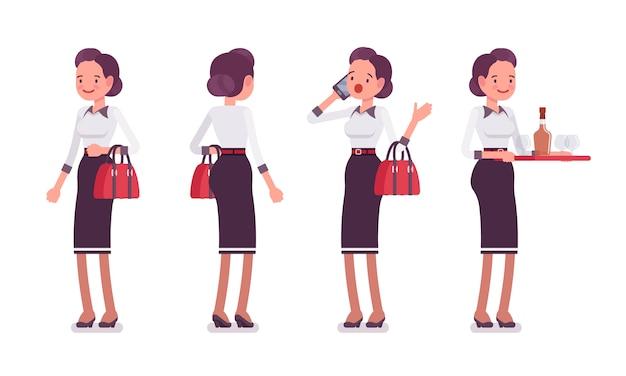 Set di giovane attraente segretaria in piedi, vista posteriore e frontale