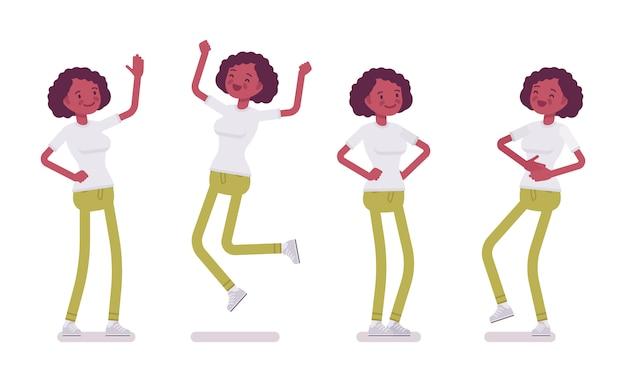 Set di giovane donna nera o afro-americana, emozioni positive