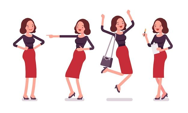 Set di giovane segretario che mostra emozioni positive, vista posteriore, frontale