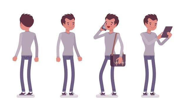 Set di giovane uomo bello in posa in piedi