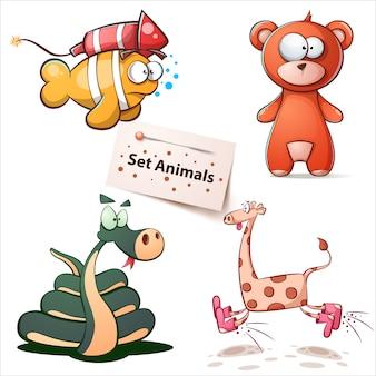 Set di giraffe di pesci, orsi, serpenti
