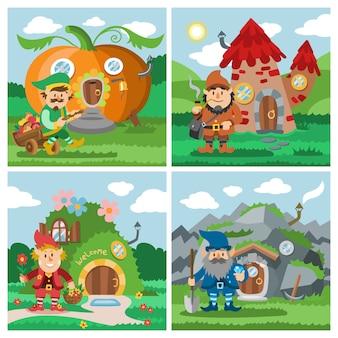 Set di gnome fantasy