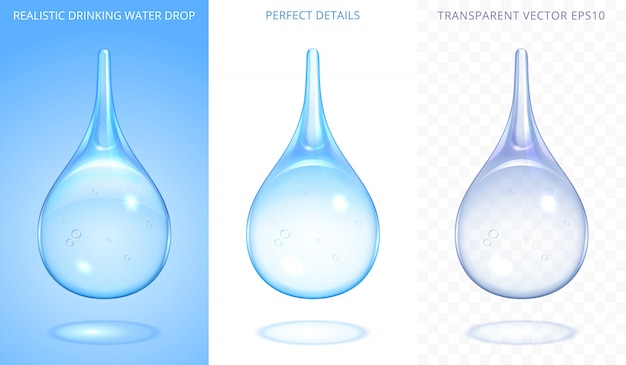 Set di gocce d'acqua che cadono. disegno realistico 3d. gocce trasparenti blu di acqua potabile pura, rugiada, goccia di pioggia o medicina liquida. oggetti isolati con forme morbide e dettagli perfetti.