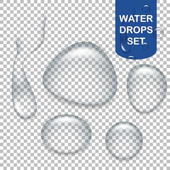 Set di gocce d'acqua trasparenti realistiche.