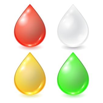 Set di gocce diverse: sangue rosso, crema o latte bianchi, miele o olio giallo e gocciolina organica verde.