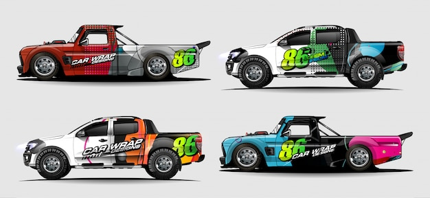 Set di grafica per auto per involucro in vinile e adesivo