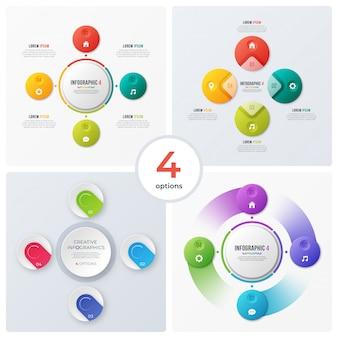 Set di grafici circolari moderni e infografiche