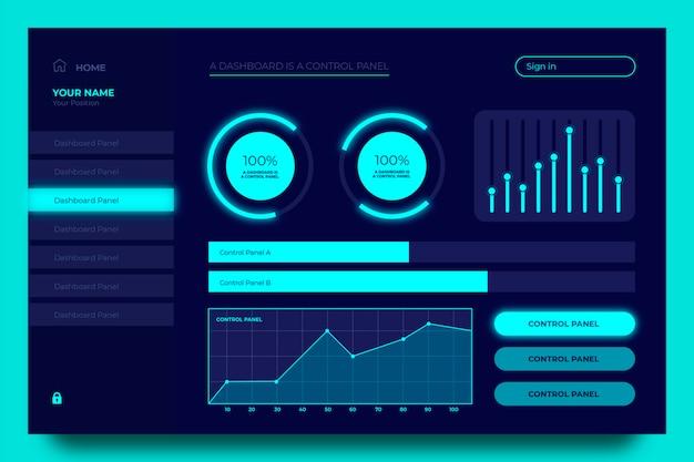Set di grafici del pannello utente della dashboard blu