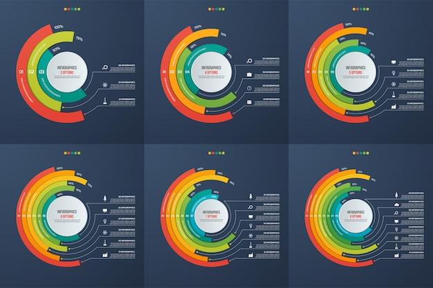 Set di grafici di infografica informativo cerchio