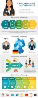 Set di grafici infographic di affari e finanza internazionali